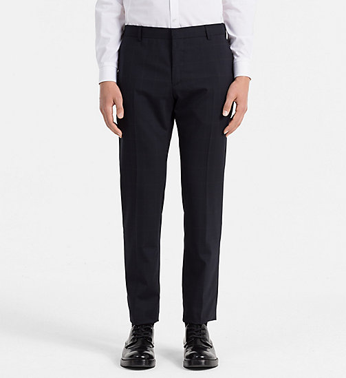 Fitted Wool Stretch Trousers - TRUE NAVY - CALVIN KLEIN SUITS - main image
