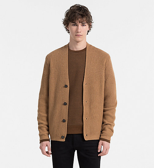 CALVINKLEIN Wool Cashmere Shawl Cardigan - TOASTED COCONUT - CALVIN KLEIN CLASSICS TO FALL FOR - main image