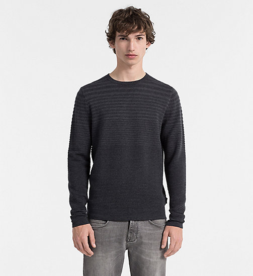 CALVIN KLEIN JEANS Ombré Stripe Sweater - GUNMETAL HEATHER - CALVIN KLEIN JUMPERS - main image