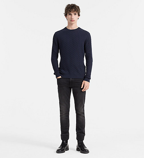 CALVIN KLEIN JEANS Textured Cotton Wool Sweater - TRUE NAVY - CALVIN KLEIN JUMPERS - detail image 1
