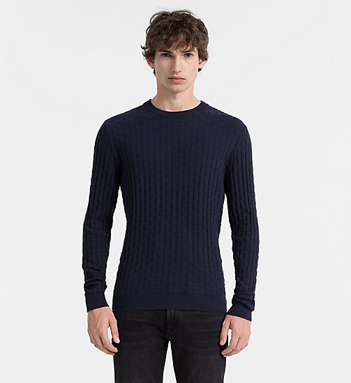 CALVIN KLEIN JEANS Textured Cotton Wool Sweater - TRUE NAVY - CALVIN KLEIN JUMPERS - main image