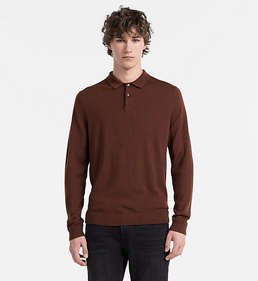 CALVINKLEIN Wool Silk Knit Polo - FIRED BRICK - CALVIN KLEIN CLASSICS TO FALL FOR - main image