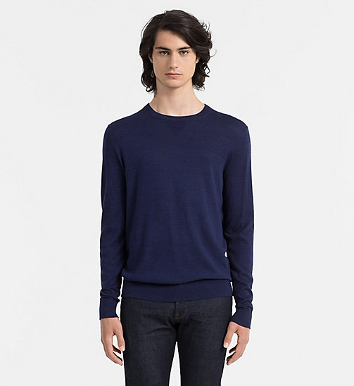 Cotton Cashmere Sweater - MEDIEVAL BLUE HTR - CALVIN KLEIN JUMPERS - main image