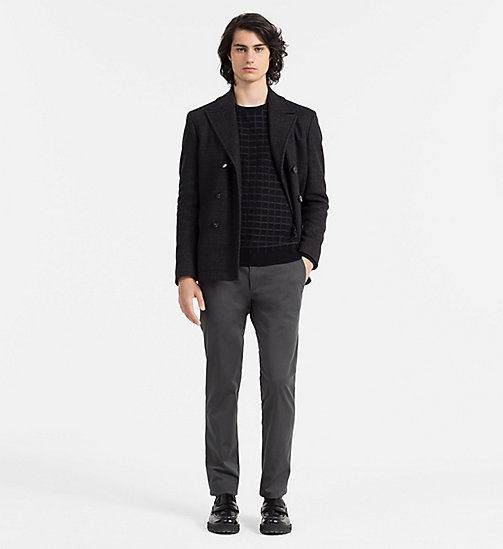 CALVIN KLEIN JEANS Wool Cotton Check Sweater - PERFECT BLACK - CALVIN KLEIN JUMPERS - detail image 1