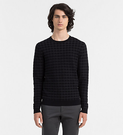 CALVIN KLEIN JEANS Wool Cotton Check Sweater - PERFECT BLACK - CALVIN KLEIN JUMPERS - main image