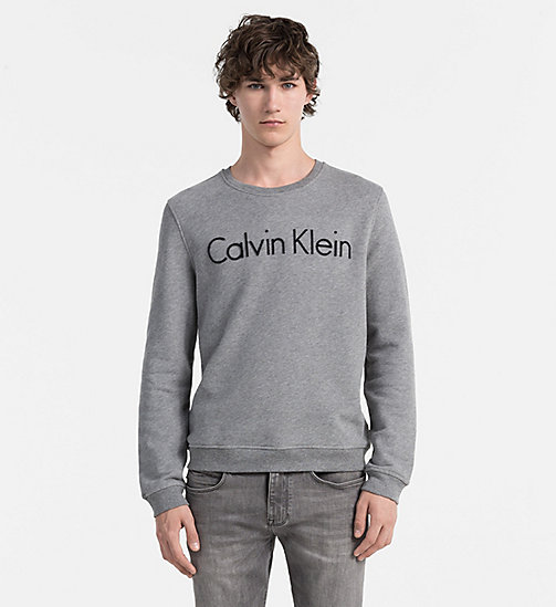 CALVINKLEIN Embroidered Logo Sweatshirt - MEDIUM GREY HEATHER - CALVIN KLEIN CLOTHES - main image