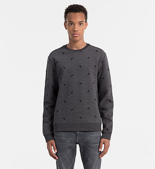 Geborduurd sweatshirt - DARK GREY HEATHER - CALVIN KLEIN  - main image