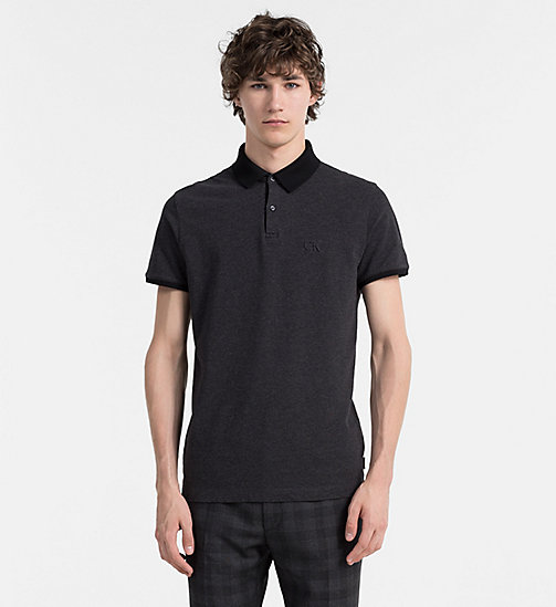 CALVINKLEIN Two-Tone Piqué Polo - ASPHALT HEATHER - CALVIN KLEIN POLO SHIRTS - main image