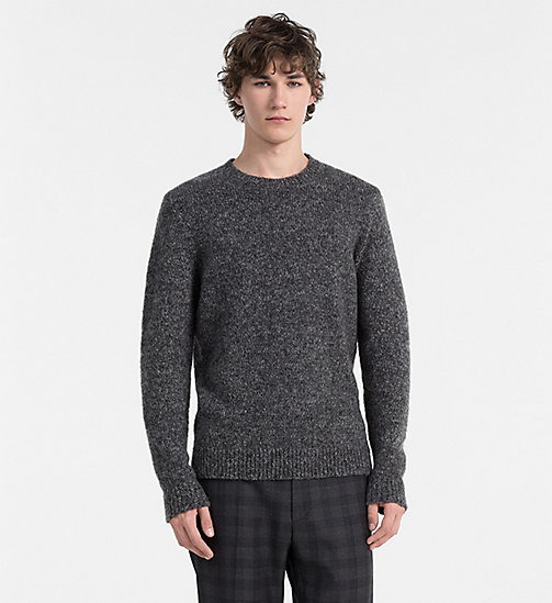 CALVINKLEIN Heathered Mohair Wool Sweater - GUNMETAL HEATHER - CALVIN KLEIN JUMPERS - main image