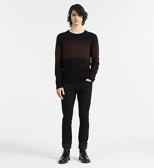 CALVINKLEIN Wool Herringbone Sweater - PERFECT BLACK - CALVIN KLEIN JUMPERS - detail image 1