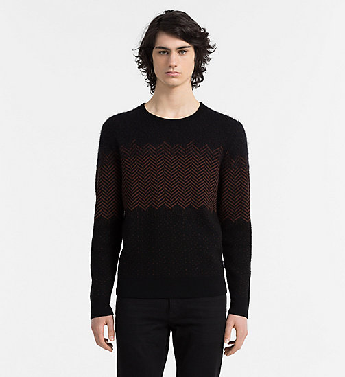 CALVINKLEIN Wool Herringbone Sweater - PERFECT BLACK - CALVIN KLEIN JUMPERS - main image