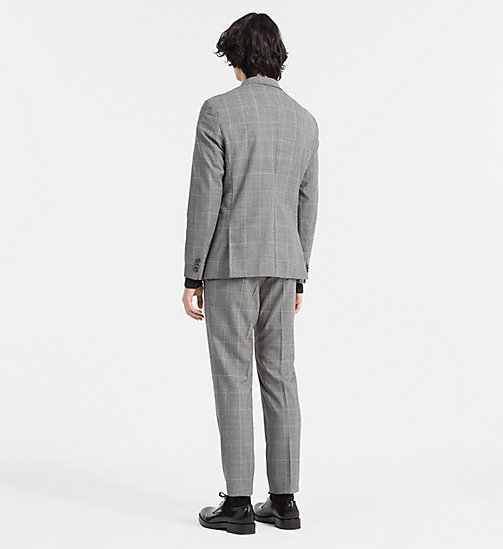 CALVINKLEIN Fitted Wool Check Suit - MID GREY - CALVIN KLEIN SUITS - detail image 1