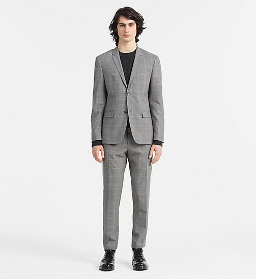 CALVINKLEIN Fitted Wool Check Suit - MID GREY - CALVIN KLEIN SUITS - main image