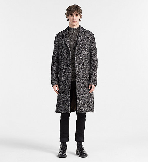 CALVINKLEIN Wool Herringbone Coat - PERFECT BLACK - CALVIN KLEIN MODERN CLASSIC - detail image 1