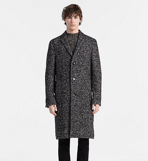 CALVINKLEIN Wool Herringbone Coat - PERFECT BLACK - CALVIN KLEIN MODERN CLASSIC - main image