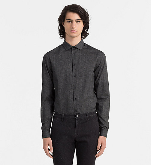 CALVINKLEIN Slim Printed Shirt - PERFECT BLACK - CALVIN KLEIN FORMAL SHIRTS - main image