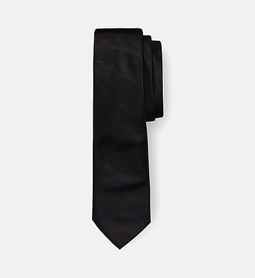 CALVINKLEIN Slim Silk Tie - PERFECT BLACK - CALVIN KLEIN TIES - main image