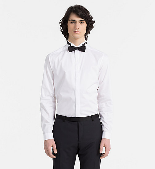 CALVINKLEIN Fitted Tuxedo Shirt - PERFECT WHITE - CALVIN KLEIN FORMAL SHIRTS - main image
