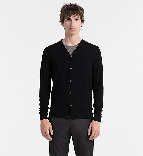 CALVINKLEIN Superior Wool Cardigan - PERFECT BLACK - CALVIN KLEIN JUMPERS - main image