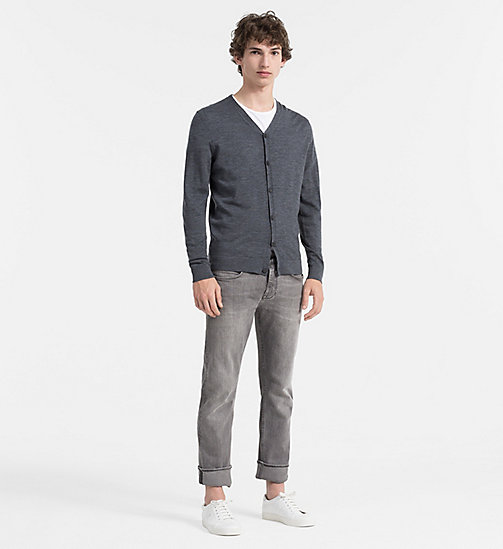 Superior Wool Cardigan - GUNMETAL HEATHER - CALVIN KLEIN JUMPERS - detail image 1