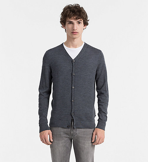 Superior Wool Cardigan - GUNMETAL HEATHER - CALVIN KLEIN JUMPERS - main image