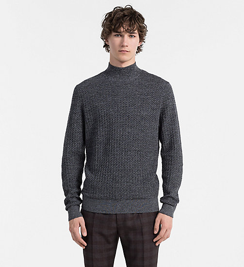 CALVINKLEIN Textured Wool Sweater - MID GREY HEATHER - CALVIN KLEIN JUMPERS - main image