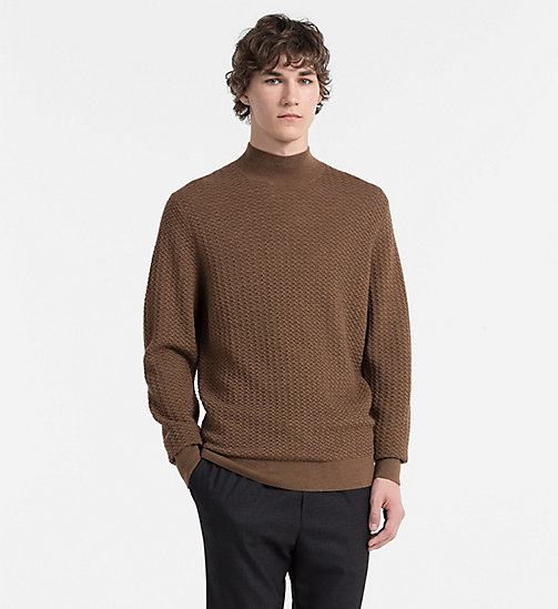 CALVINKLEIN Textured Wool Sweater - TOFFEE HEATHER - CALVIN KLEIN JUMPERS - main image