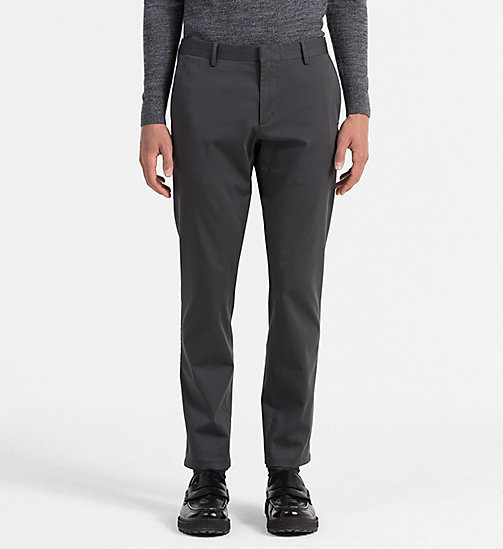 CALVINKLEIN Slim Stretch Satin Trousers - ASPHALT - CALVIN KLEIN CLASSICS TO FALL FOR - main image