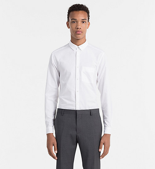 Fitted Oxford Cotton Shirt - PERFECT WHITE - CALVIN KLEIN SHIRTS - main image