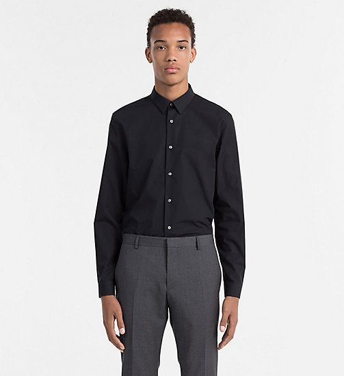 CALVINKLEIN Slim Cotton Stretch Shirt - PERFECT BLACK - CALVIN KLEIN FORMAL SHIRTS - main image