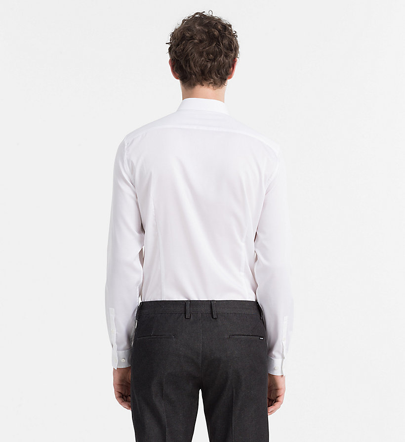CALVINKLEIN Fitted Cotton Twill Shirt - PERFECT WHITE - CALVIN KLEIN SHIRTS - detail image 2