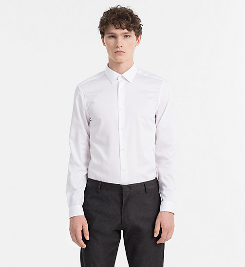 Fitted Cotton Twill Shirt - PERFECT WHITE - CALVIN KLEIN SHIRTS - main image