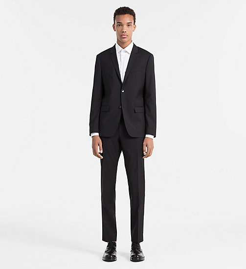 Fitted Refined Wool Blazer - PERFECT BLACK - CALVIN KLEIN SUITS - detail image 1