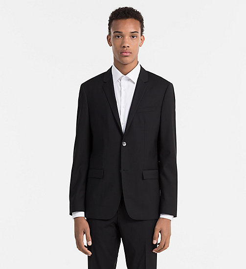 CALVINKLEIN Fitted Refined Wool Blazer - PERFECT BLACK - CALVIN KLEIN BLAZERS & SUITS - main image