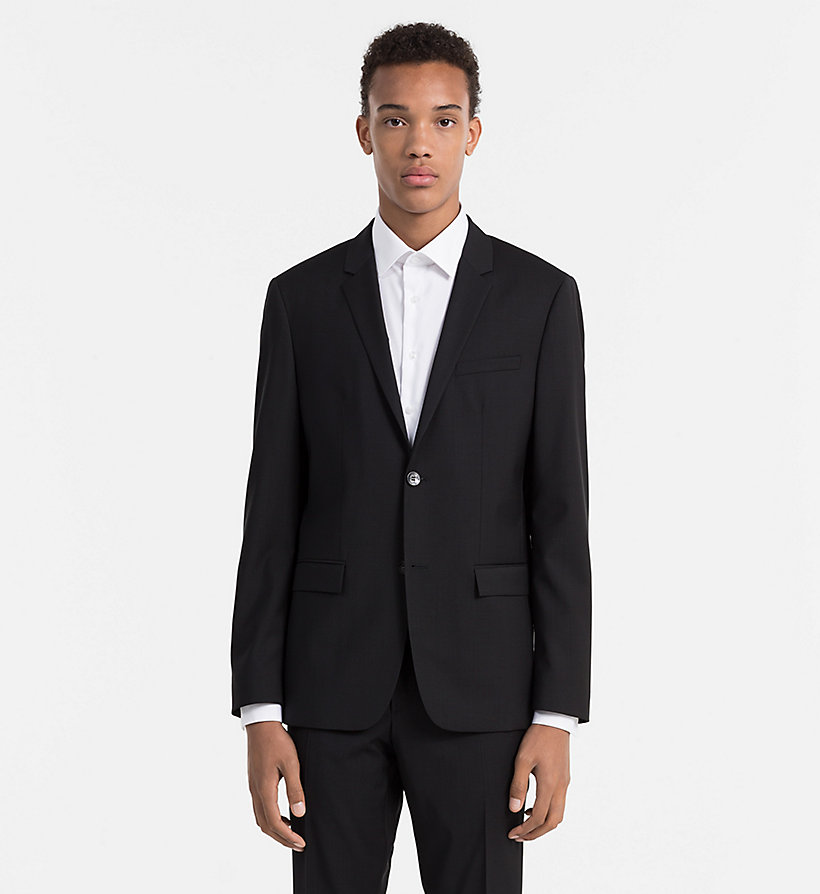 CALVINKLEIN Fitted Refined Wool Blazer - PERFECT BLACK - CALVIN KLEIN SUITS - main image