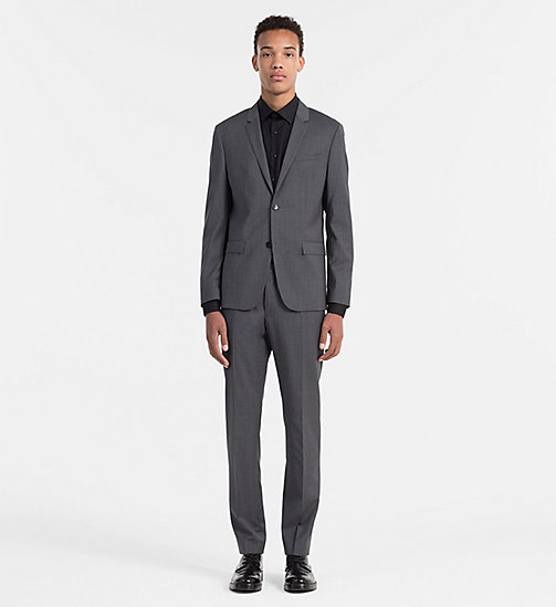 Fitted Refined Wool Blazer - ASPHALT - CALVIN KLEIN SUITS - detail image 1