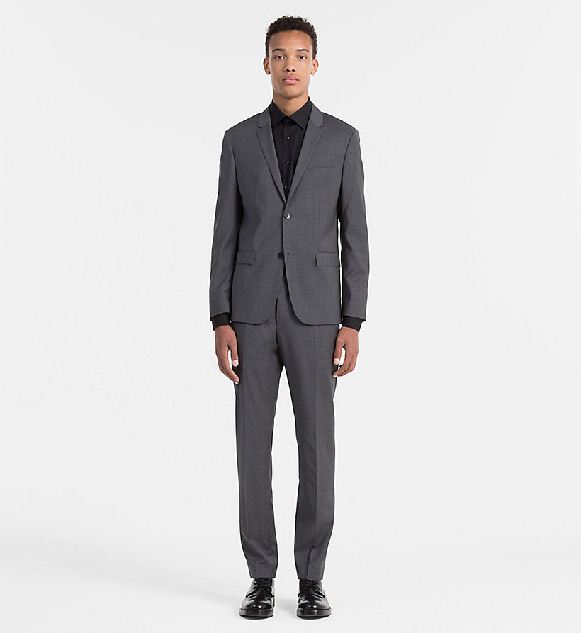 CALVINKLEIN Fitted Refined Wool Blazer - ASPHALT - CALVIN KLEIN SUITS - detail image 1