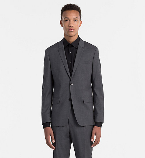 Fitted Refined Wool Blazer - ASPHALT - CALVIN KLEIN SUITS - main image