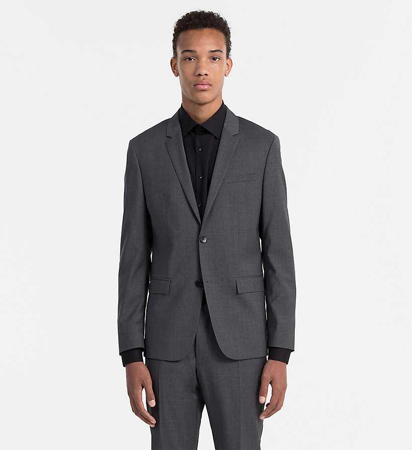 CALVINKLEIN Fitted Refined Wool Blazer - ASPHALT - CALVIN KLEIN SUITS - main image