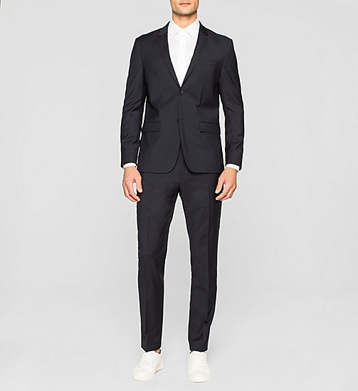 Fitted Refined Wool Blazer - TRUE NAVY - CALVIN KLEIN SUITS - detail image 1