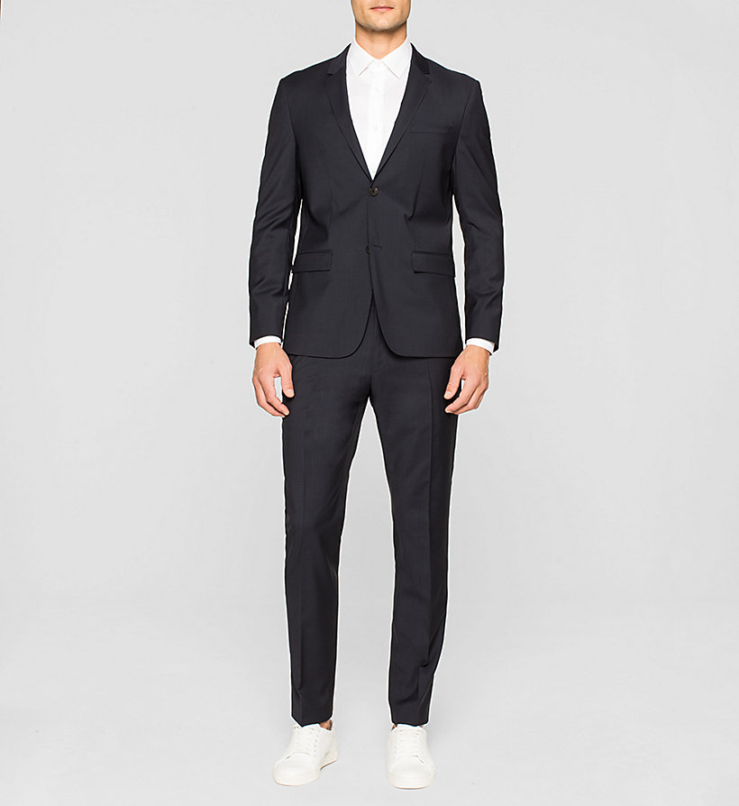 CALVINKLEIN Fitted Refined Wool Blazer - TRUE NAVY - CALVIN KLEIN SUITS - detail image 1