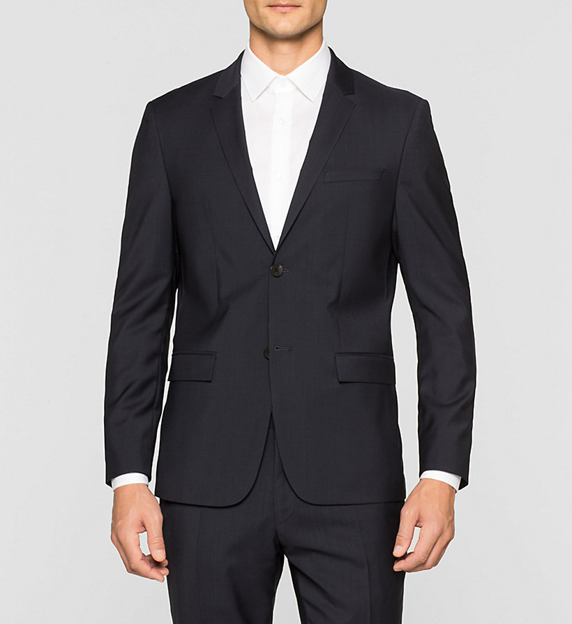 CALVINKLEIN Fitted Refined Wool Blazer - TRUE NAVY - CALVIN KLEIN SUITS - main image