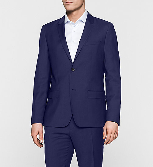 Fitted Refined Wool Blazer - INDIGO - CALVIN KLEIN SUITS - main image