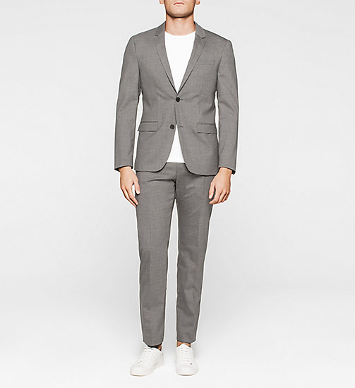 Slim Wool Stretch Blazer - MEDIUM GREY - CALVIN KLEIN SUITS - detail image 1