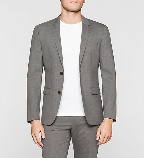 Slim Wool Stretch Blazer - MEDIUM GREY - CALVIN KLEIN SUITS - main image