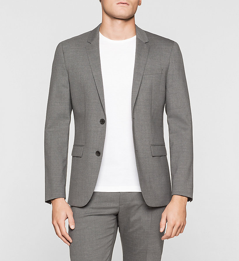 CALVINKLEIN Slim Wool Stretch Blazer - MEDIUM GREY - CALVIN KLEIN CLOTHES - main image