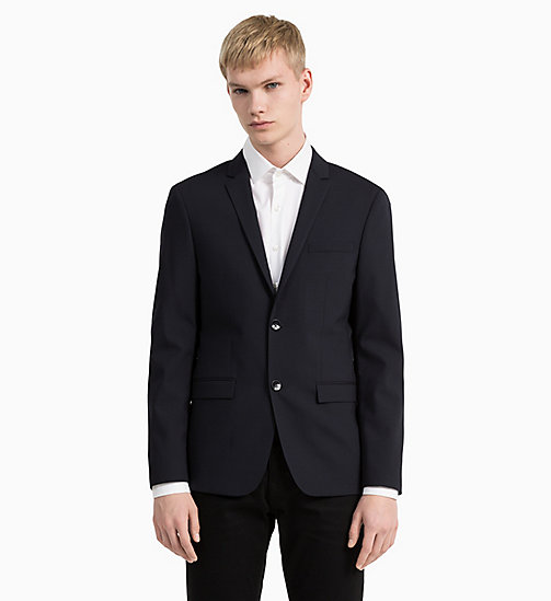 Slim Wool Stretch Blazer - MIDNIGHT NAVY - CALVIN KLEIN CLOTHES - detail image 1