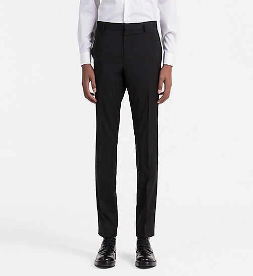 Fitted Refined Wool Trousers - PERFECT BLACK - CALVIN KLEIN SUITS - main image