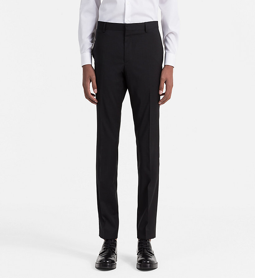 CALVINKLEIN Fitted Refined Wool Trousers - ASPHALT - CALVIN KLEIN SUITS - main image