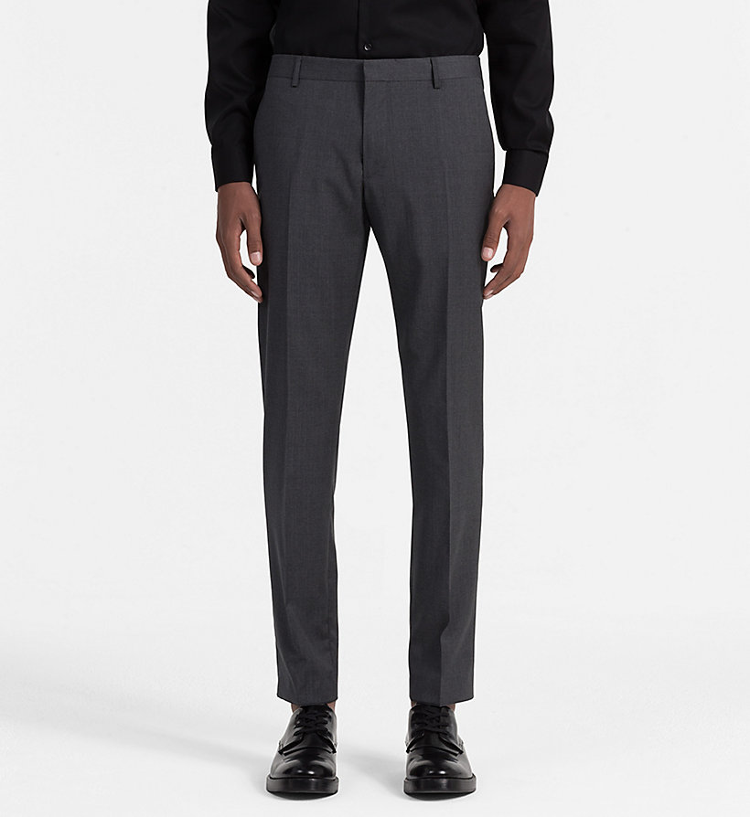 CALVINKLEIN Fitted Refined Wool Trousers - TRUE NAVY - CALVIN KLEIN SUITS - main image
